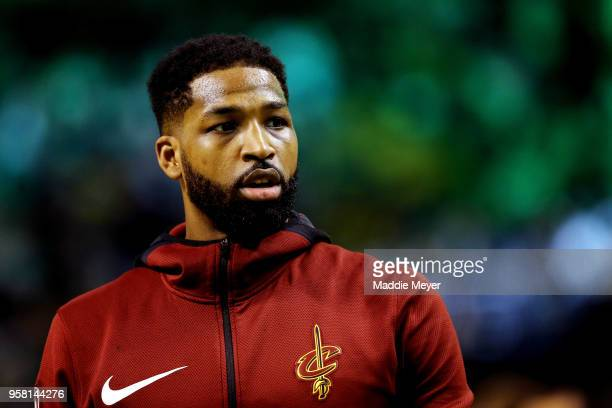 Tristan Thompson of the Cleveland Cavaliers warms up prior to Game One of the Eastern Conference Finals against the Boston Celtics Tristan Thompson...