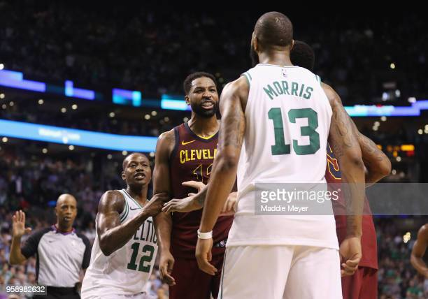 Tristan Thompson of the Cleveland Cavaliers yells at Marcus Morris of the Boston Celtics in the second half during Game Two of the 2018 NBA Eastern...