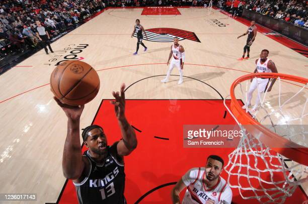 Tristan Thompson of the Sacramento Kings shoots the ball during the game against the Portland Trail Blazers on October 20, 2021 at the Moda Center...