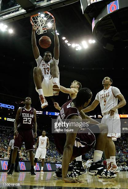 Tristan Thompson of the Texas Longhorns dunks the ball against the Texas AM Aggies during their semifinal game in the 2011 Phillips 66 Big 12 Men's...
