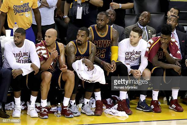 Tristan Thompson Richard Jefferson JR Smith LeBron James Matthew Dellavedova and Iman Shumpert of the Cleveland Cavaliers sit on the bench late in...
