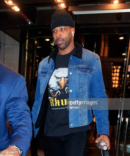 Tristan Thomspon heads of his hotel on February 28, 2019 in New York City.
