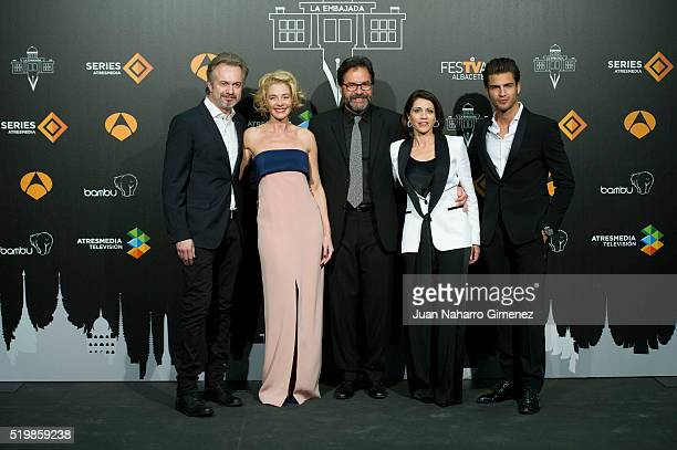 Tristan Ulloa Belen Rueda Abel Folk Alicia Borrachero and Maxi Iglesias attend 'La Embajada' premiere during FesTVal at Teatro Circo on April 8 2016...
