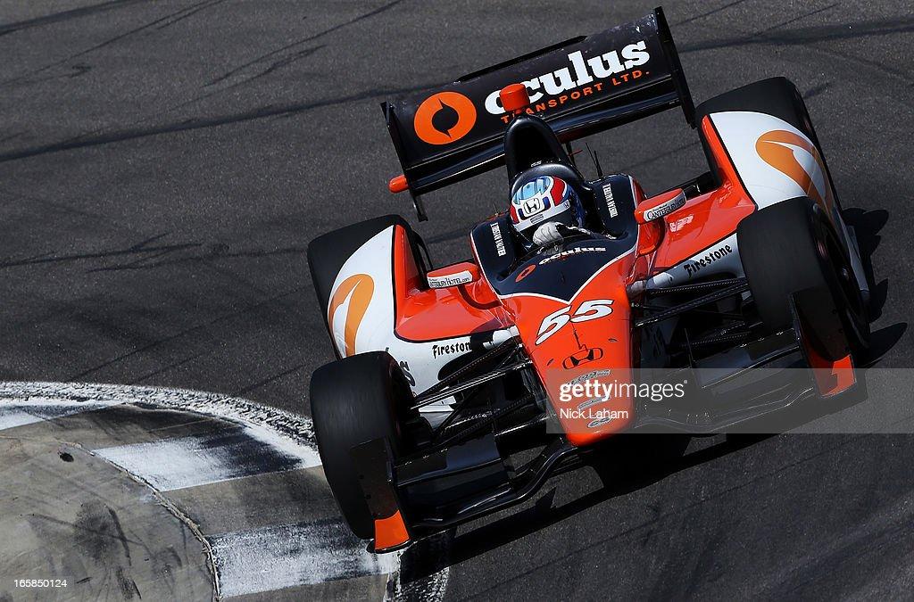 Tristan Vautier of France, drives the #55 Schmidt Peterson Motorsports Honda during qualifying for the Honda Indy Grand Prix of Alabama at Barber Motorsports Park on April 6, 2013 in Birmingham, Alabama.
