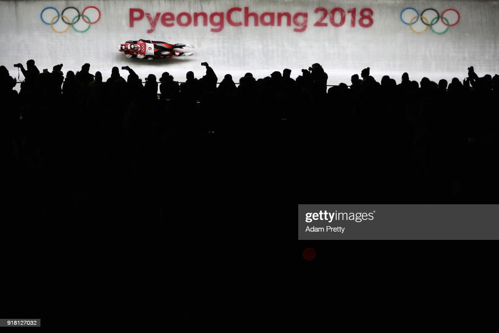 Tristan Walker and Justin Snith of Canada slide during the Luge Doubles run 1 on day five of the PyeongChang 2018 Winter Olympics at the Olympic Sliding Centre on February 14, 2018 in Pyeongchang-gun, South Korea.