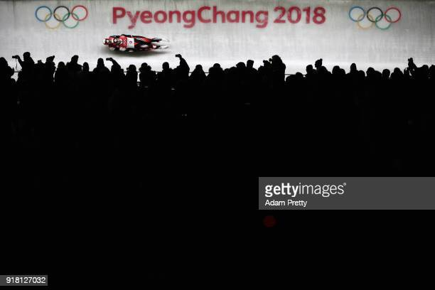 Tristan Walker and Justin Snith of Canada slide during the Luge Doubles run 1 on day five of the PyeongChang 2018 Winter Olympics at the Olympic...