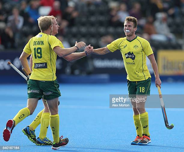 Tristan White of Australia celebrates after scorign their second goal during the FIH Mens Hero Hockey Champions Trophy match between Australia and...