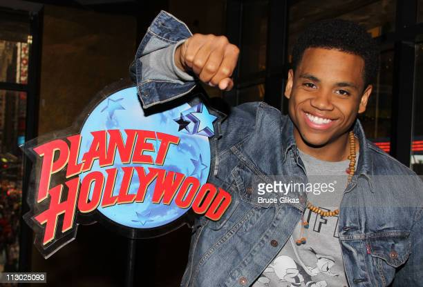 Tristan Wilds promotes '90210' and poses as he visits Planet Hollywood Times Square on April 22 2011 in New York City