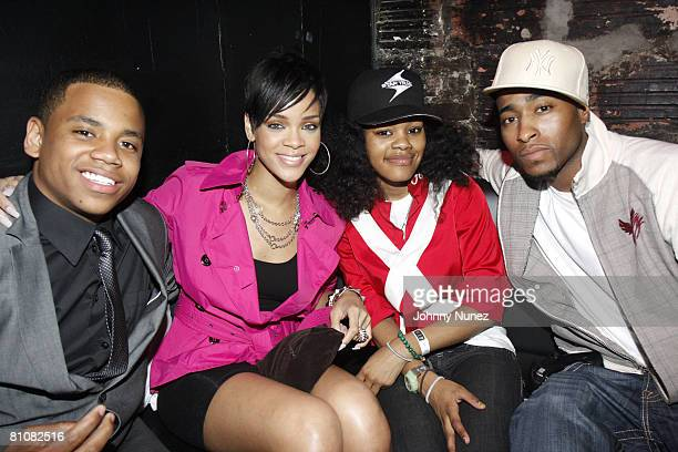Tristan Wilds Rihanna Teyanna Taylor and Willie Taylor of Day26 attends Chris Brown's 19th Birthday Party May 13 2008 at Rebel NYC in New York