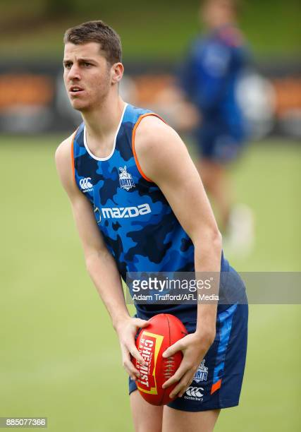 Tristan Xerri of the Kangaroos in action during the North Melbourne Kangaroos training session at Arden St on December 4 2017 in Melbourne Australia