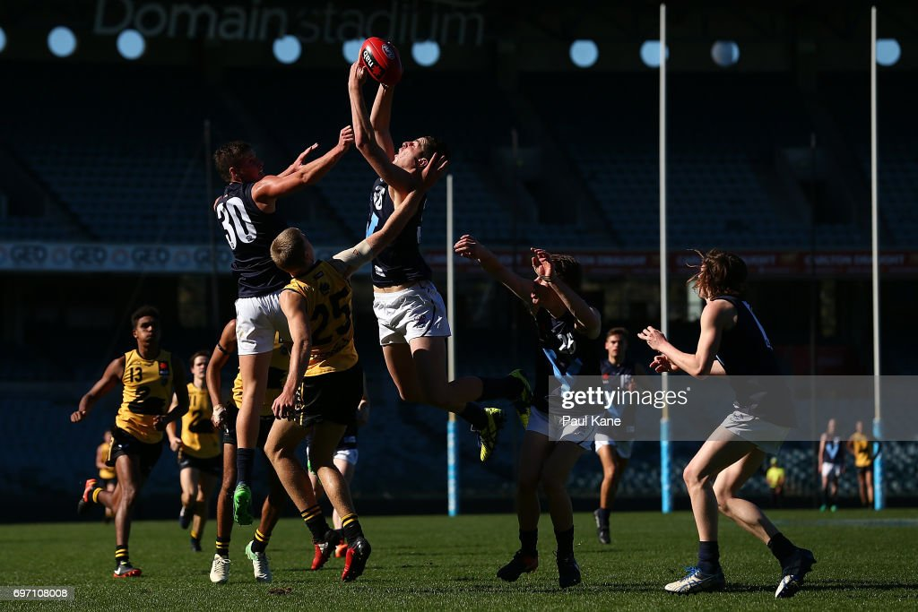 Tristan Xerri of Vic Metro marks the ball during the U18 Championships match between Western Australia and Victoria Metro at Domain Stadium on June 18, 2017 in Perth, Australia.