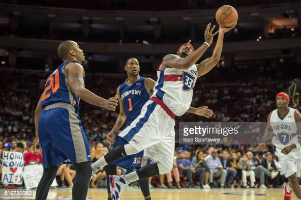 TriState's Lee Nailon makes an off balanced shot during a BIG3 Basketball league game on July 16 2017 at Wells Fargo Center in Philadelphia PA