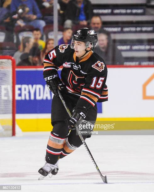 Tristen Nielsen of the Calgary Hitmen in action against the Lethbridge Hurricanes during a WHL game at the Scotiabank Saddledome on October 15, 2017...