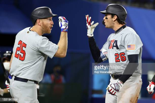 Triston Casas of Team United States celebrates with Todd Frazier after hitting a three-run home run in the fifth inning against Team Japan during the...