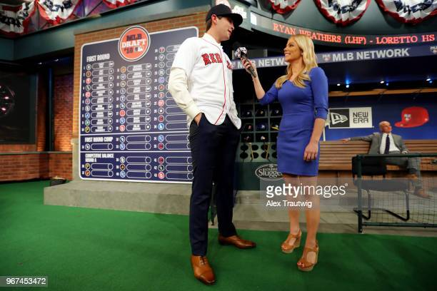 Triston Casas talks with MLB Network host Alexa Datt after being selected 26th overall by the Boston Red Sox during the 2018 Major League Baseball...