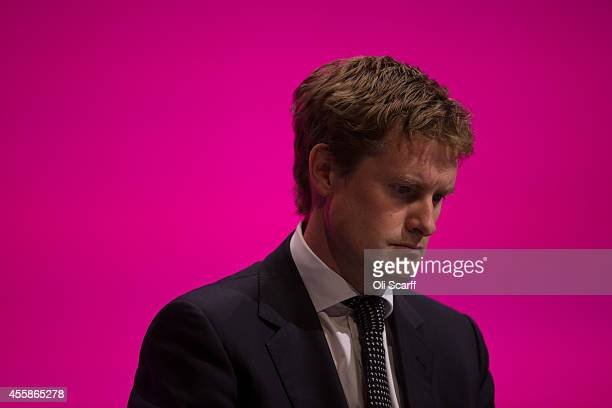 Tristram Hunt Shadow Secretary of State for Education listens to the speeches on the opening day of the Labour Party Conference on September 21 2014...