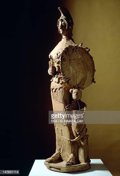 Tritonia Minerva statue in clay from the site of LaviniumPratica di Mare Lazio Italy Latin Civilization 5th Century BC Pomezia Pratica Di Mare Museo...