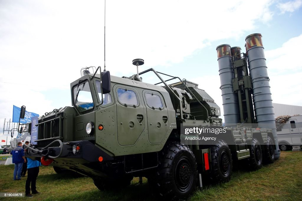 Triumf and Pantsir-S anti-aircraft weapon systems on display at the MAKS-2017 International Aviation and Space Salon in Zhukovsky, Moscow Region, Russia, on July 19, 2017.