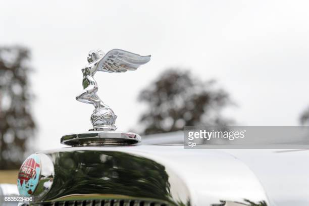 triumph 1800 roadster classic 1940s car hood ornament - hood ornament stock pictures, royalty-free photos & images