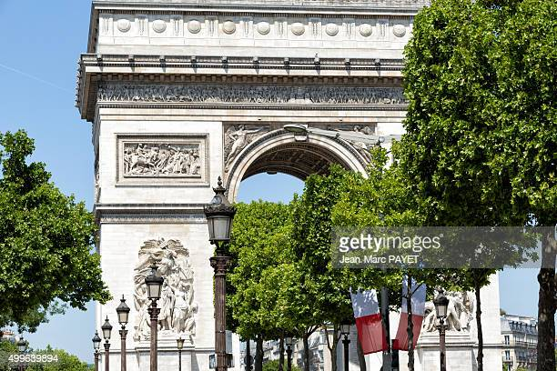 Triumph Arc and french flag, Paris, France