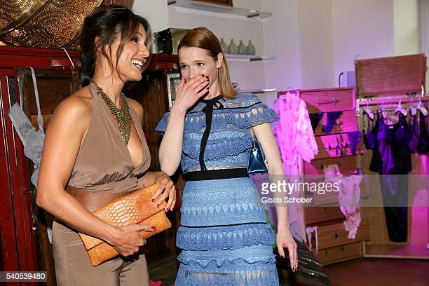 Triumph Brand Embassadors Nazan Eckes and Karoline Herfurth during the 'Triumph Maison Party' at Palais Nr 6 Schloss Nymphenburg on June 15 2016 in...