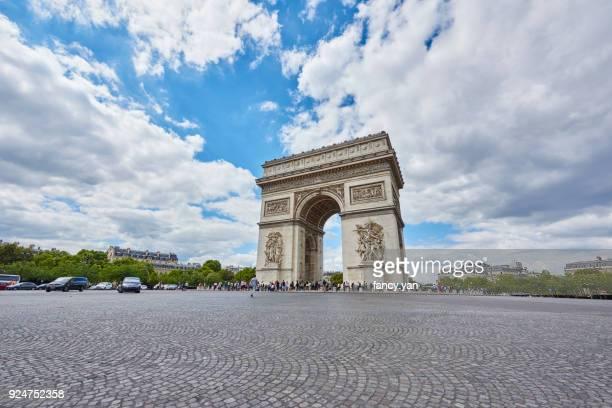 triumph in paris - triumphal arch stock photos and pictures