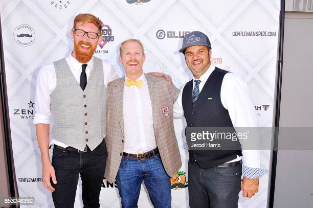 Triumph Newport Beach Sales Manager Aaron Clink Director of Development Movember Foundation JJ Owen and CEO of Blue C Advertising Eric Morley attend...