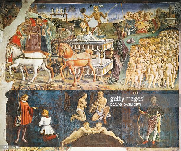 Triumph of Apollo and Sign of Gemini scenes from Month of May ca 1470 by Francesco del Cossa fresco east wall Hall of the Months Palazzo Schifanoia...
