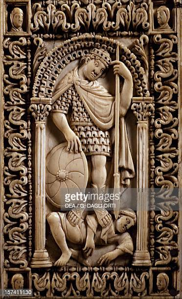 Triumph of Virtue over Evil, detail from a diptych decorated in relief, artist from the School of the Palace of Charlemagne, ivory, from Ambronay...