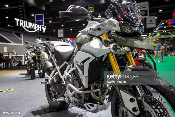 Triumph Tiger 900 Rally Dual-Sport motorcycle seen at the Triumph stand during the 41st Bangkok International Motor Show 2020. The exhibition started...