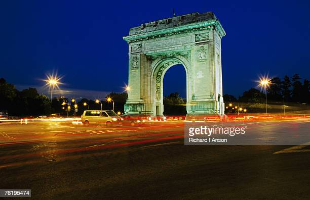 Triumphal Arch at dusk, Bucharest, Romania, Europe