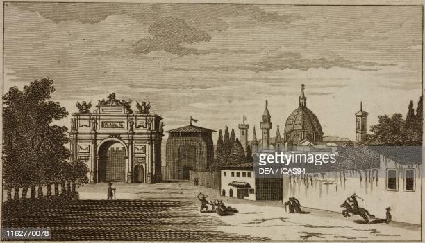 Triumphal Arch of the Lorraine and Porta San Gallo Florence Italy engraving from Guida della citta di Firenze ornata di pianta e vedute Florence