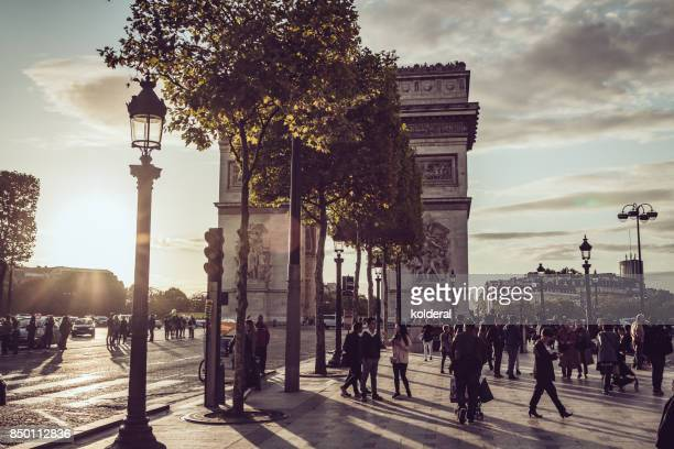 Triumphal Arch of the Star against sunset