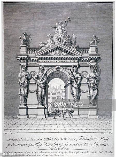Triumphal arch on the west end of Westminster Hall, London, 1727. The arch was erected for the coronation of George II and Queen Caroline, on 11th...