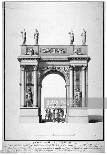 Triumphal arch on the west end of Westminster Hall, London, 1761. The arch was erected for the coronation of George II and Queen Caroline, on 11th...