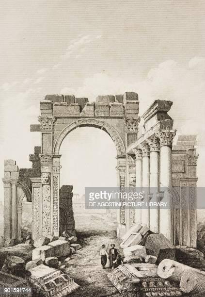 Triumphal Arch, Palmyra, Syria, engraving by Lemaitre from Chaldee, Assyrie, Medie, Babylonie, Mesopotamie, Phenicie, Palmyrene by Ferd Hoefer,...