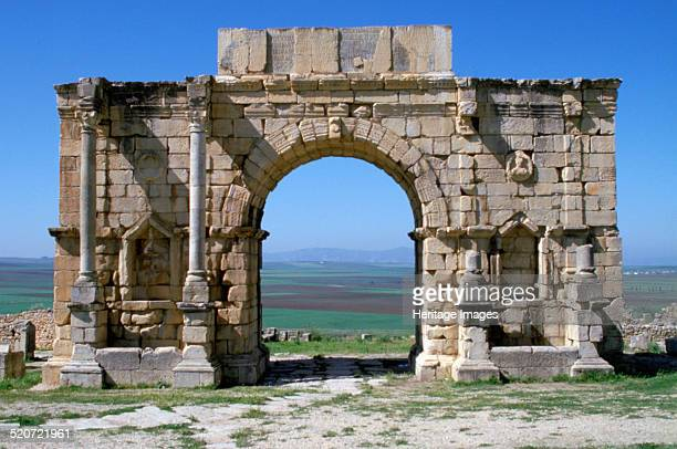 Triumphal arch, Volubilis, Morocco. Volubilis was a Roman town near the western border of Rome's territory in North Africa. It was the administrative...