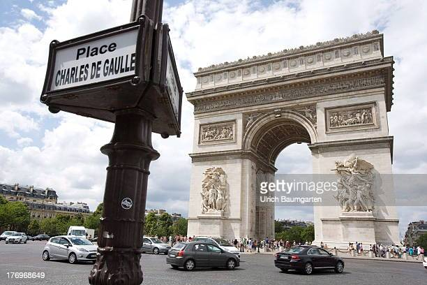 Triumphal arch with road sign Place Charles de Gaulle in the French capital Paris on August 07 2013 in Paris France