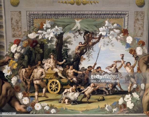 Triumphal Chariot of Bacchus by Jean Boulanger with floral decoration by Pier Francesco Cittadini fresco Bacchus Gallery Palazzo Ducale in Sassuolo...