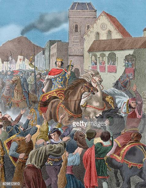 Triumphal entry into Naples of King Alfonso V of Aragon and IV of Catalonia called the Magnanimous He was the king of the Crown of Aragon and Naples...