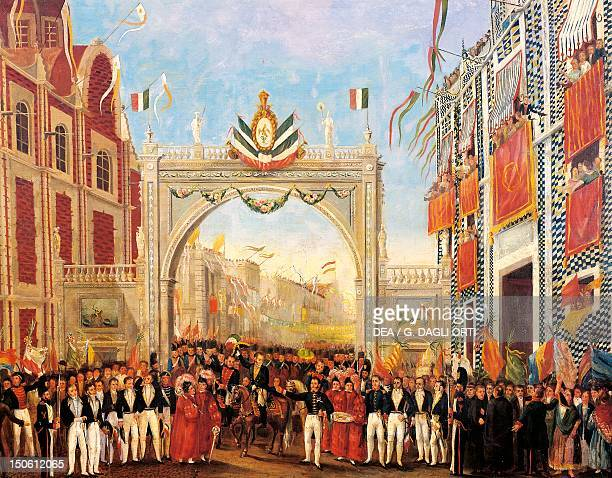 Triumphal entry of Agustin de Iturbide into Mexico City September 27 1821 Mexican War of Independence Mexico 19th century