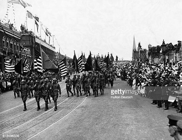 A triumphal march through London displaying all the pageantry of peace day 19th July 1919 Generals Foch and Haig among other war leaders rode at the...
