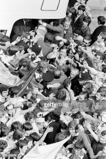Triumphant Chelsea FC, return home after winning 1971 European Cup Winners' Cup Final Replay 2-1 against Real Madrid at the Karaiskakis Stadium in...