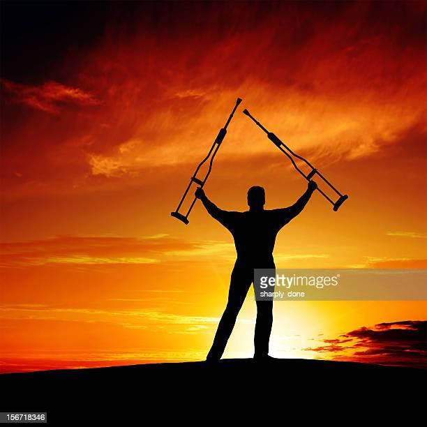 xxxl triumphant disabled man - jesus is alive stock pictures, royalty-free photos & images