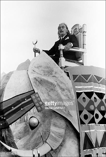 Triumphant Entry Of Salvador Dali In Tarragone Salvador Dali On A Float Like The Emperor Auguste In Tarragona Spain On August 18 1973