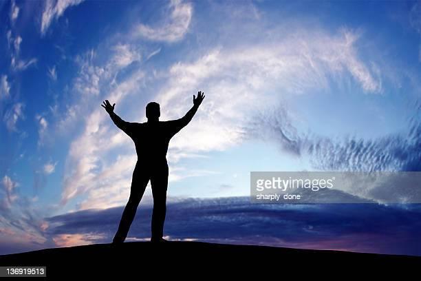 xxxl triumphant man silhouette - jesus is alive stock pictures, royalty-free photos & images