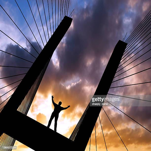 xxl triumphant man silhouette - jesus is alive stock pictures, royalty-free photos & images