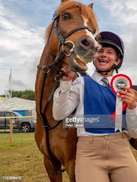 A triumphant rider in the Shetland Pony Grand National at The Game Fair at Hatfield House on July 26 2019 in Hatfield England The Game Fair is the...