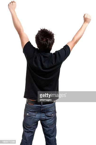 Triumphierend junger Mann wirft Hände, Rückansicht