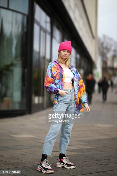 Trixi Giese wearing a Vintage flanel Balenciaga Triple S sneaker Apple watch and a jeans during the Berlin Fashion Week Autumn/Winter 2020 on January...